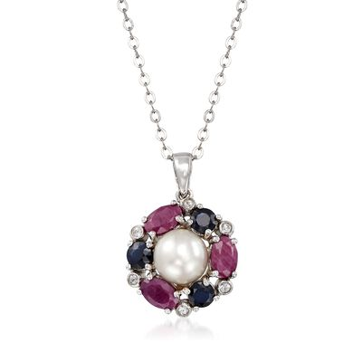 7.5-8mm Cultured Pearl and 2.80 ct. t.w. Multi-Stone Pendant Necklace in Sterling Silver, , default