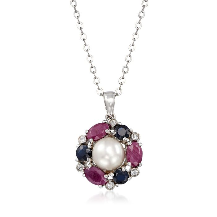"7.5-8mm Cultured Pearl and 2.80 ct. t.w. Multi-Stone Pendant Necklace in Sterling Silver. 18"", , default"