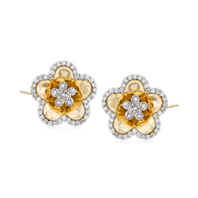 .44 ct. t.w. Diamond Flower Earrings in 14kt Yellow Gold, , default