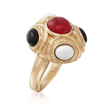 Red and White Agate and Black Onyx Ring in 14kt Yellow Gold, , default