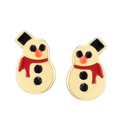 Multicolored Enamel Snowman Earrings in 14kt Yellow Gold