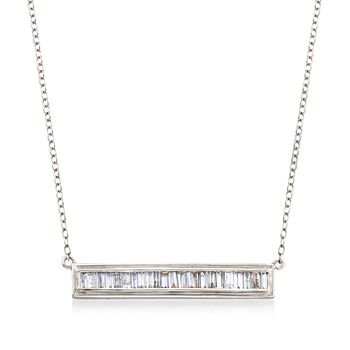 ".50 ct. t.w. Baguette Diamond Bar Necklace in 14kt White Gold. 16"", , default"