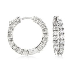 3.00 ct. t.w. CZ Inside-Outside Hoop Earrings in Sterling Silver, , default