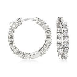 3.00 ct. t.w. CZ Inside-Outside Hoop Earrings in Sterling Silver, , default