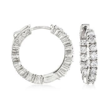 """3.00 ct. t.w. CZ Inside-Outside Hoop Earrings in Sterling Silver. 7/8"""", , default"""