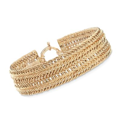 14kt Yellow Gold Wide Multi-Row Link Bracelet, , default