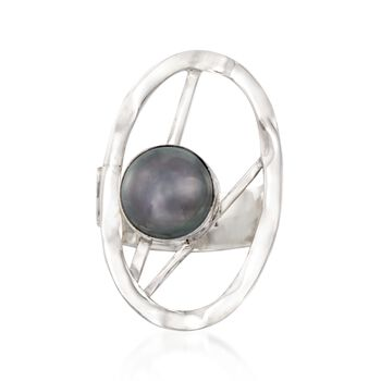 9-10mm Black Cultured Pearl Oval Abstract Ring in Sterling Silver. Size 6, , default