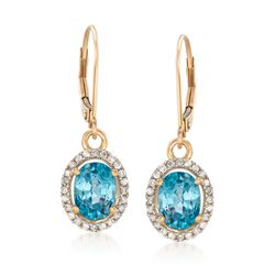4.70 ct. t.w. Blue Zircon and .28 ct. t.w. Diamond Drop Earrings in 14kt Yellow Gold, , default