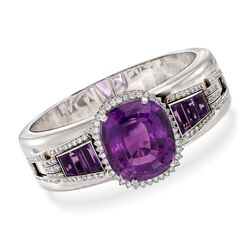 "C. 1970 Vintage 54.50 ct. t.w. Amethyst and 2.20 ct. t.w. Diamond Bracelet in 14kt White Gold. 7"", , default"