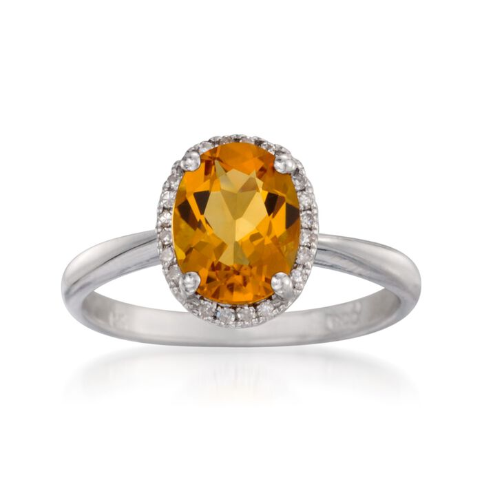 1.65 Carat Citrine Ring with Diamonds in 14kt White Gold