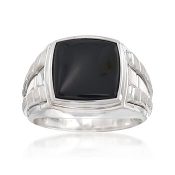 Men's Black Onyx Ring in Sterling Silver, , default