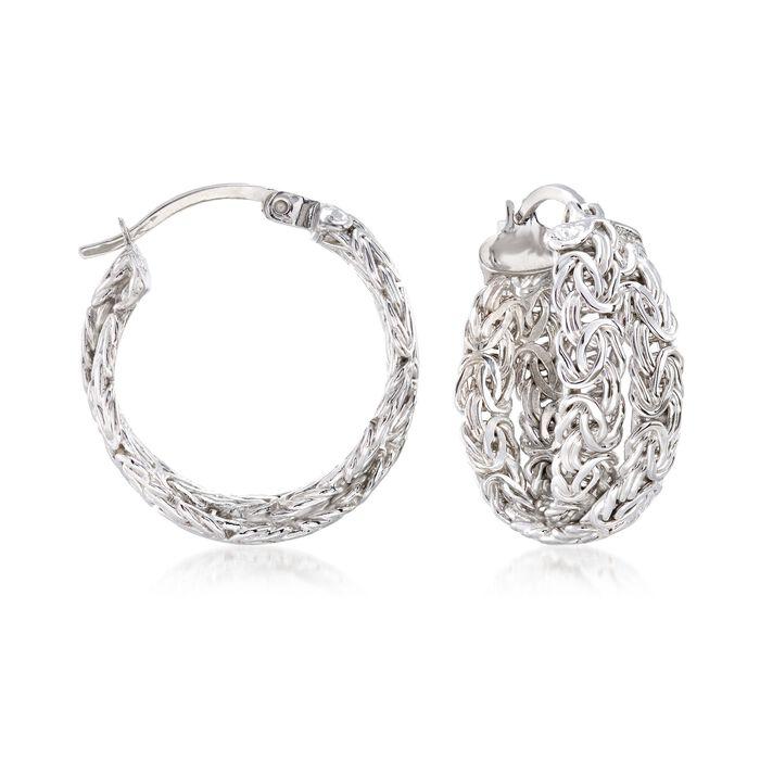 """Sterling Silver Byzantine Crisscross Hoop Earrings. 7/8"""", , default"""