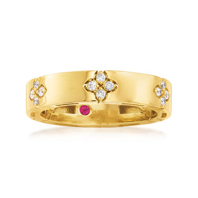 Roberto Coin .15 ct. t.w. Diamond Flower Ring in 18kt Yellow Gold