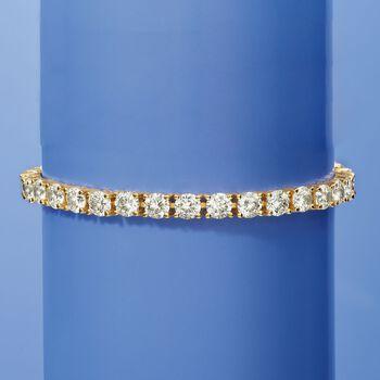 """15.00 ct. t.w. CZ Tennis Bracelet in 14kt Gold Over Sterling. 7"""", , default"""