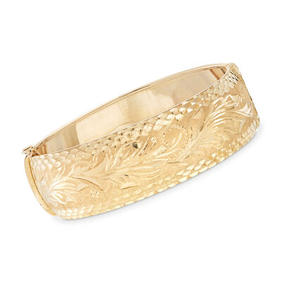 Italian 14kt Yellow Gold Diamond-Cut Floral Bracelet, , default