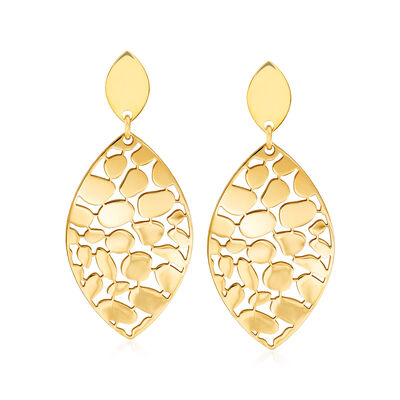 Italian 18kt Gold Over Sterling Marquise-Shaped Drop Earrings