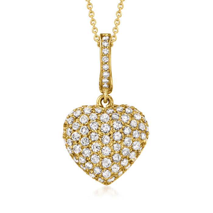 C. 1990 Vintage 2.00 ct. t.w. Diamond Heart Pendant Necklace in 18kt Yellow Gold