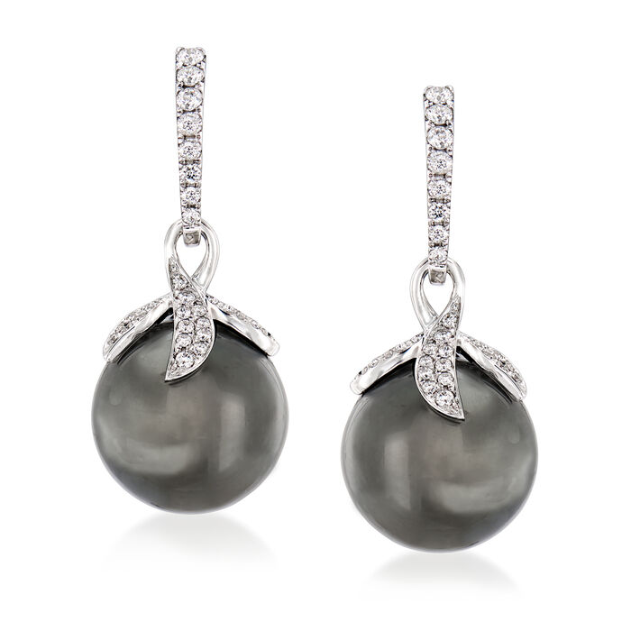 12-12.5mm Black Cultured South Sea Pearl and .40 ct. t.w. Diamond Drop Earrings in 18kt White Gold, , default