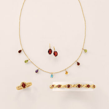 3.40 ct. t.w. Garnet Oval-Link Bracelet in 14kt Yellow Gold, , default