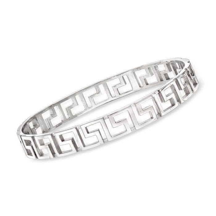 Italian Sterling Silver Greek Key Bangle Bracelet, , default