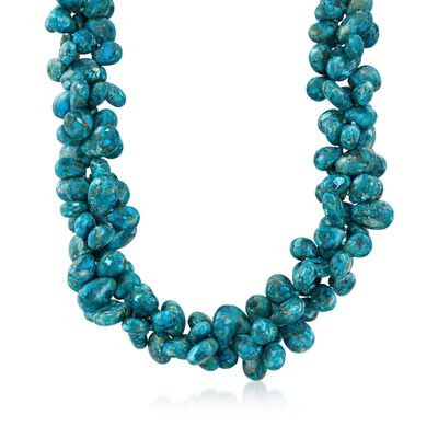 Turquoise Bead Statement Necklace With Sterling Silver, , default