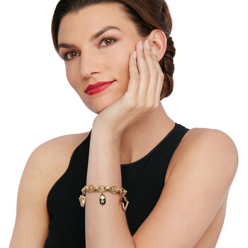 "C. 1990 Vintage .35 ct. t.w. Diamond and Enamel Baby Shoe Charm Bracelet in 14kt Yellow Gold. 7.75"""