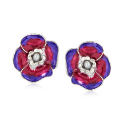 Italian Grey Cultured Pearl and Enamel Flower Earrings in Sterling Silver, , default