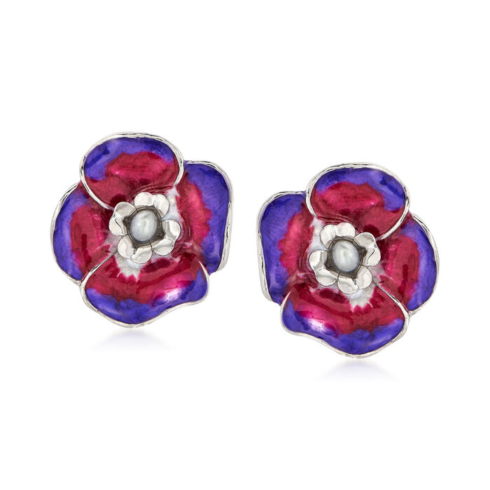 Italian Gray Cultured Pearl and Enamel Flower Earrings in Sterling Silver, , default