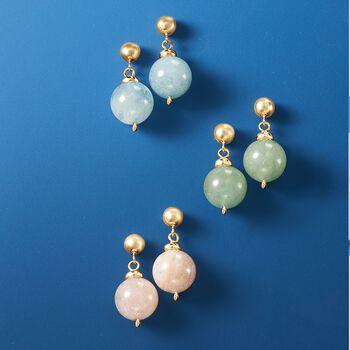 14.00 ct. t.w. Green Beryl Bead Drop Earrings in 14kt Yellow Gold, , default