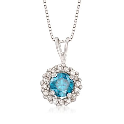 .49 ct. t.w. Blue and White Diamond Pendant Necklace in 14kt White Gold, , default