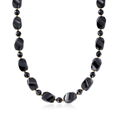 Black Agate Bead Necklace with 14kt Yellow Gold, , default