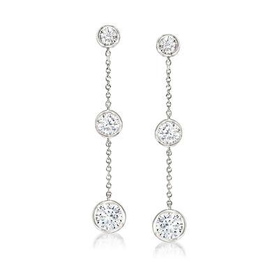 2.00 ct. t.w. Bezel-Set CZ Linear Drop Earrings in Sterling Silver