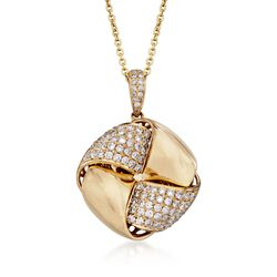 "1.54 ct. t.w. Diamond Love Knot Pendant Necklace in 14kt and 18kt Yellow Gold. 16"", , default"