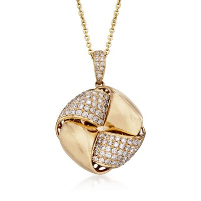 1.54 ct. t.w. Diamond Love Knot Pendant Necklace in 14kt and 18kt Yellow Gold, , default