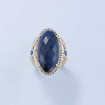 16.10 ct. t.w. Sapphire and .70 ct. t.w. Champagne Diamond Ring in Sterling Silver