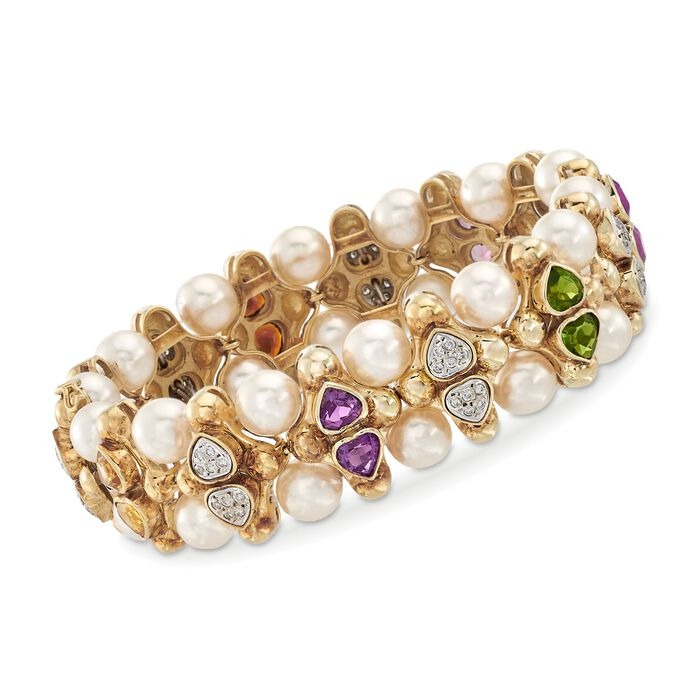 "C. 1980 Vintage 5.80 ct. t.w. Multi-Stone and 7.5mm Cultured Pearl Bracelet with Diamonds in 14kt Yellow Gold. 7.5"", , default"