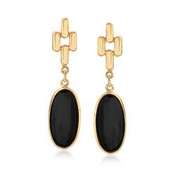 C. 1990 Vintage Black Onyx Drop Earrings in 14kt Yellow Gold , , default