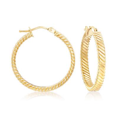 Italian 18kt Yellow Gold Flat Rope Hoop Earrings