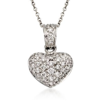 "Roberto Coin ""Tiny Treasures"" .44 ct. t.w. Diamond Heart Necklace in 18kt White Gold  , , default"