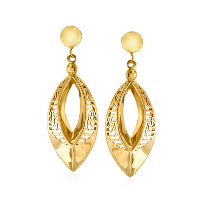 Italian 18kt Yellow Gold Open-Space Drop Earrings
