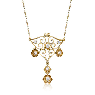 C. 1950 Vintage .85 ct. t.w. Diamond Drop Necklace in 14kt Yellow Gold