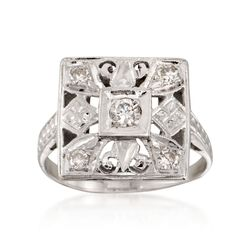 C. 1950 Vintage .25 ct. t.w. Diamond Square-Top Ring in 14kt White Gold. Size 5.5, , default