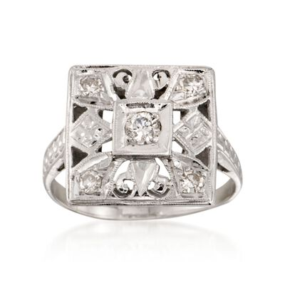 C. 1950 Vintage .25 ct. t.w. Diamond Square-Top Ring in 14kt White Gold, , default