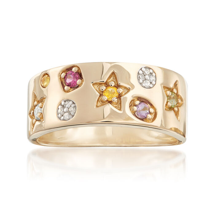 .22 ct. t.w. Multi-Stone Ring with Diamond Accents in 14kt Yellow Gold, , default