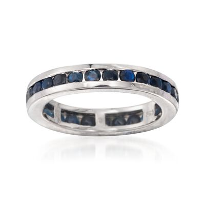 2.30 ct. t.w. Channel-Set Sapphire Eternity Band in Sterling Silver