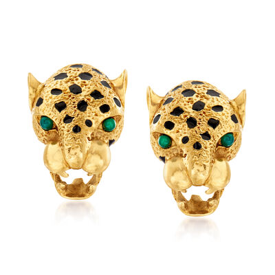 C. 1980 Vintage 18kt Yellow Gold Panther Head Earrings with Green Chalcedony and Black Enamel