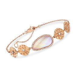 "Pink Mother-Of-Pearl and .21 ct. t.w. Diamond Disc Bracelet in 14kt Rose Gold. 6"", , default"