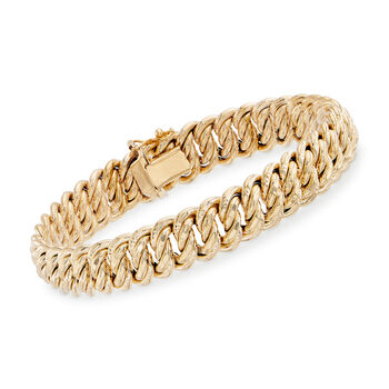 "Italian 18kt Yellow Gold Double Link Bracelet. 7.5"", , default"