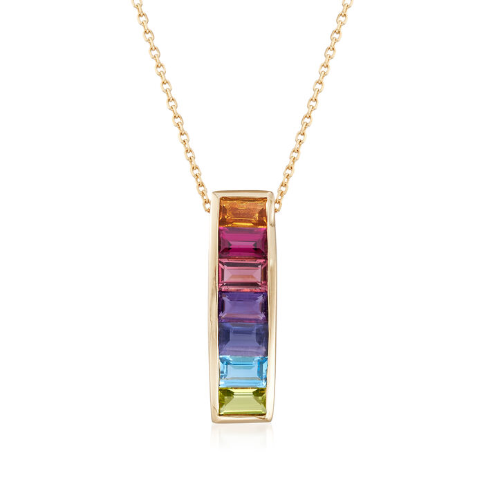 2.00 ct. t.w. Multi-Gemstone Pendant Necklace in 14kt Yellow Gold