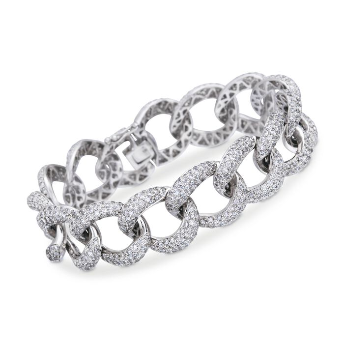 13.00 ct. t.w. Pave Diamond Large Link Bracelet in 18kt White Gold